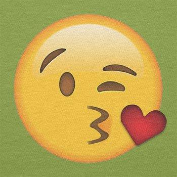 Texlab–Blow Kiss Emoji–sacchetto di stoffa Verde chiaro