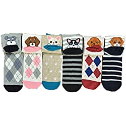 6pcs calcetines mujer termicos divertidos, Kfnire lindo animales impresión diseños mujer calcetines altos (estilo 02)