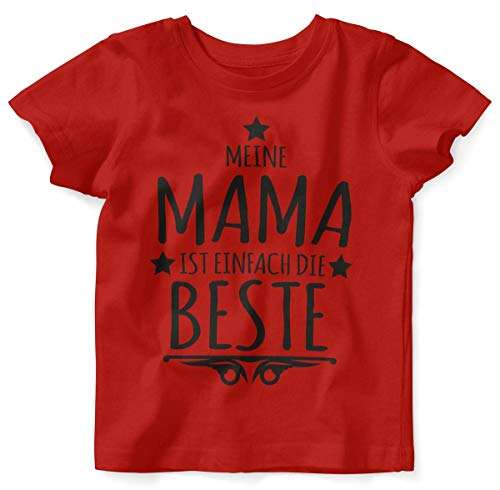 Mikalino Baby/Kinder T-Shirt mit Spruch für Jungen Mädchen Unisex Kurzarm Meine Mama ist einfach die Beste | handbedruckt in Deutschland | Handmade with Love, Farbe:rot, Grösse:80/86