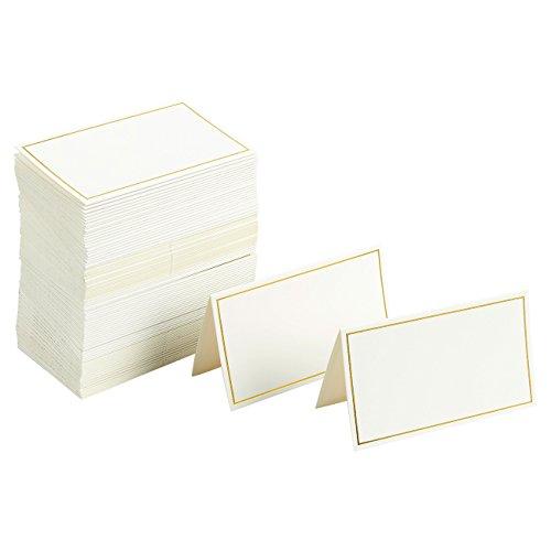 Tischkarten mit Goldfolienumrandung, ideal für Hochzeiten / Bankette / Veranstaltungen, 5,1 x 8,9 cm, 100 Stück