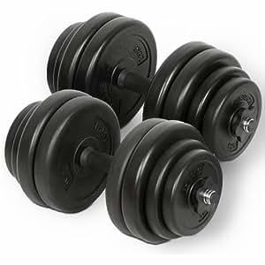 Physionics Lot d'haltères courts 30kg (2x15kg) avec poids (disques) et bagues de serrage