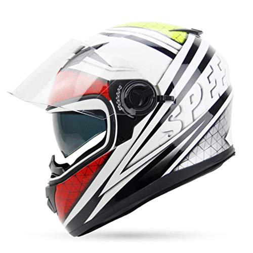 Casco moto fuoristrada integrale per adulti, casco invernale caldo a prova di freddo a doppia lente, cappello di sicurezza per stagioni Univeray 57-64cm