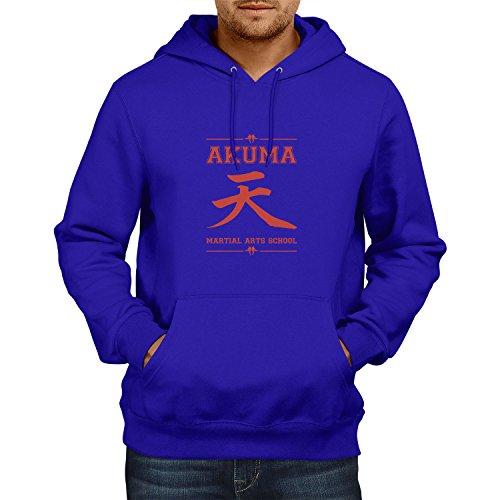 NERDO - Akuma Martial Arts School - Herren Kapuzenpullover, Größe L, marine (Snk Cosplay Kostüm)