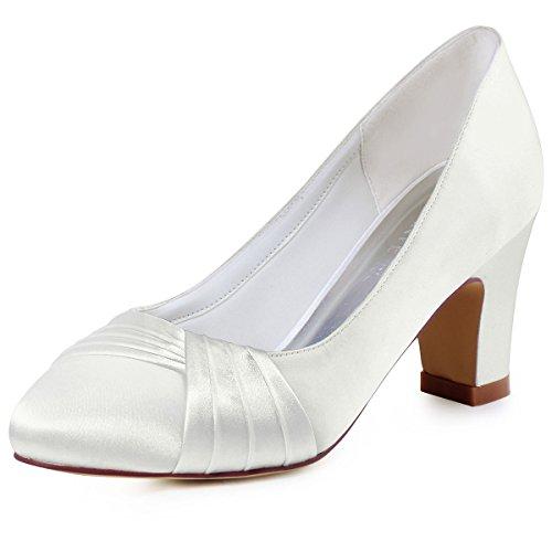 ElegantPark HC1608 Ivory Damen Geschloessene Zehen Komfort Pleated Satin Pumps Brautschuhe EU 41