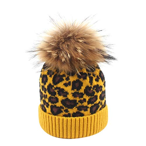 BESTOYARD Kinder Herbst Winter Mütze Multicolor Leopard Stricken Wolle Ball Cap...