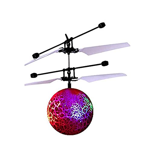 Mini Flying RC Ball, Rcool Crystal Hand Suspension Helicopter Aircraft Infrared Sensing Induction Flying Ball Drone Toy with Colorful LED Lighting Flashing for Kids (Red)