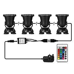 LemonBest® Remote Control RGB LED Pond Spotlight Underwater Aquarium Fish Tank Lighting AC100-240V UK Plug