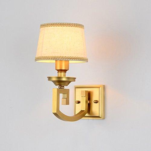 Amerikanischen Dorf Voller Kupfer Lampe Tuch Lampenschirm Wandleuchte Europäischen Wohnzimmer Schlafzimmer Nacht Mit E27 Sockel Einzelkopf (16 * 30 CM) doppelkopf (40 * 30 CM) -