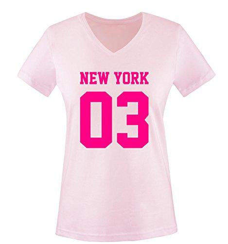 New York 03 - Damen V-Neck T-Shirt - Rosa/Pink Gr. L -