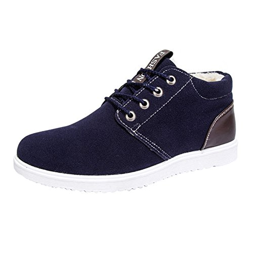 Juleya scarpe da ginnastica invernale per uomo - suede warm fodera sneaker flat trainers stivaletti in chiusura in pelle slipper scarpe sportive
