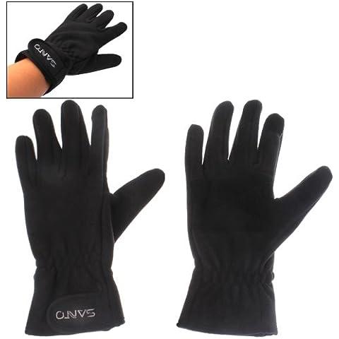 Protección Cálido Guantes De Lana Dedos Completo (Negro)