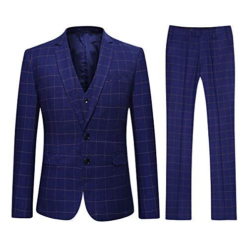Youthup abito uomo elegante completo classico 3 pezzi slim fit blazer gilet vestito pantalone per festa cerimonia matrimonio affari