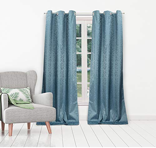 Duck River Textiles - Jax Linen Textured Foam Back Grommet Top Window Curtains for Living Room & Bedroom - Assorted Colors - Set of 2 Panels (38 X 84 Inch - Blue) - Textured Foam