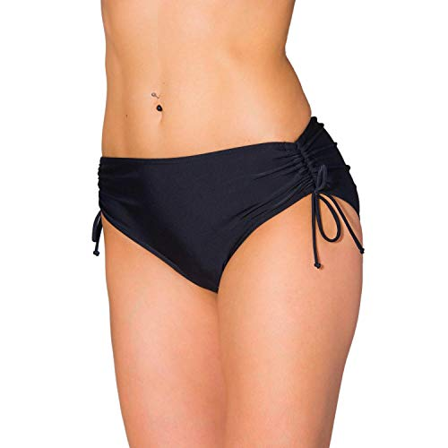 Aquarti Damen Bikinihose mit Raffung und Schnüren, Farbe: Schwarz, Größe: 46