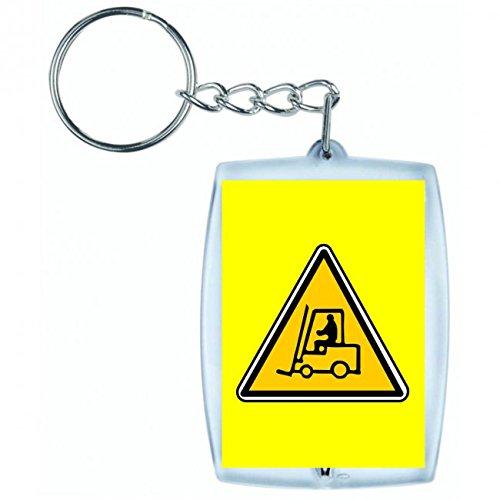 """Schlüsselanhänger """"GABELSTAPLER- LKW- AUTO- AUFZUG- FAHRZEUG- FABRIK- VERKEHR- LAGERUNG- ARBEIT- FRACHT- INDUSTRIE"""" in Gelb   Keyring - Taschenanhänger - Rucksackanhänger - Schlüsselring"""