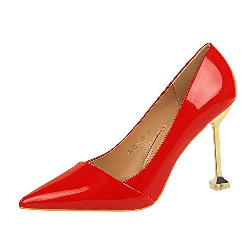 DIMAOL Scarpe da Donna in Similpelle di Caduta di Primavera Comfort Tacchi Stiletto Heel Punta per Vestire Il Nudo Luce Rosa Rosso Marrone Argento Rosso