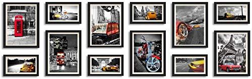 Wall-Mounted Home Mall-Moderne Bilderrahmen Wand |Kombinierte Bilderrahmen |für Flur Wohnzimmer |Set von 12 (Farbe: schwarz)