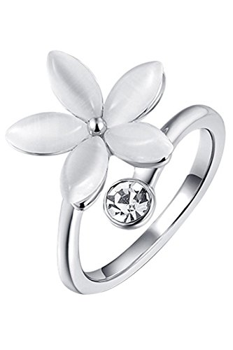 Anillo de cristalino de flor - SODIAL(R)Anillo de joyeria de diamantes de imitacion de flores de cinco petalos para mujeres (plata US 6)
