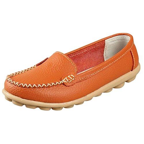 Minetom Donne Scarpe Basse Piatte di Ecopelle Pantofole Semplici Comode scarpe casual scarpe da guida ( Arancione EU 40 )