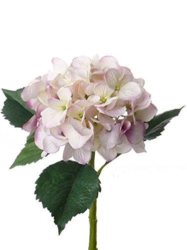 artplants Künstliche XXL-Hortensie, weiß-rosa, 50 cm, Ø 15 cm – Kunstblume/Seidenblume