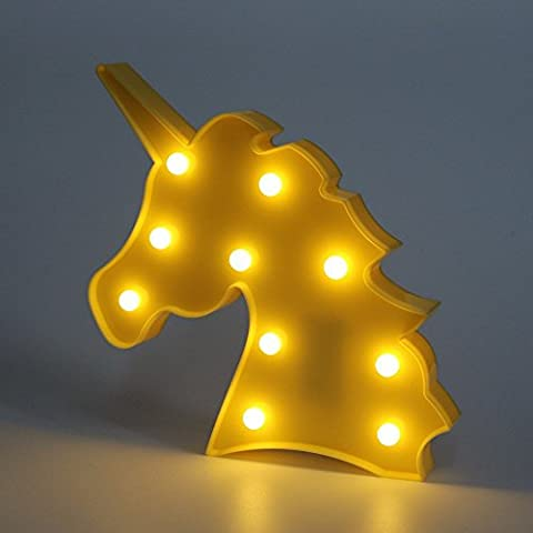 iacon Cute Unicorn Head LED Night Light Animal Shape Marquee LED lamps on wall Lighting Party Wedding Room Decor for Kids Children Gift d'intérieur Yellow