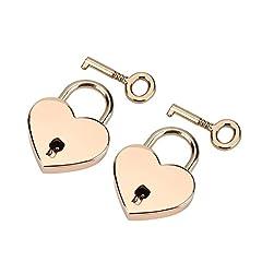 Idea Regalo - 2 set Lucchetto a forma di cuore con lucchetto e metallo scheletrato per contenitore di gioielli da libro diario bagaglio
