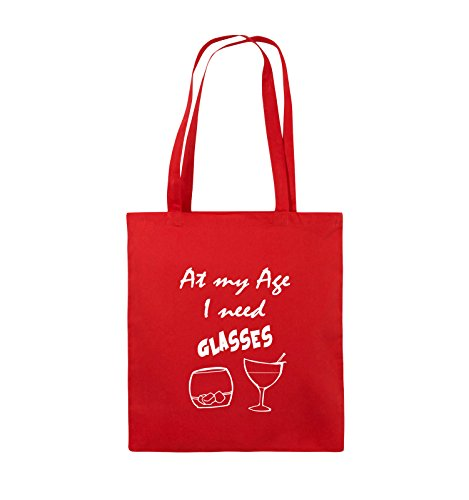 Comedy Bags - At my Age I need GLASSES - Jutebeutel - lange Henkel - 38x42cm - Farbe: Schwarz / Silber Rot / Weiss
