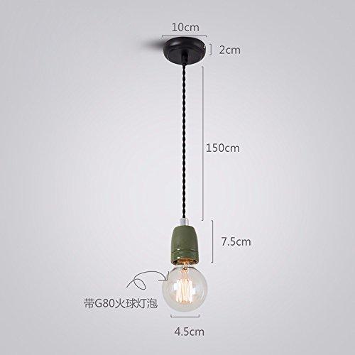 Licht-kristall-suspension (Das LED-Licht zur Decke Pendelleuchte Eisen Jugendstil Emaille Suspension Draht, Zucker Porzellan - Grün)