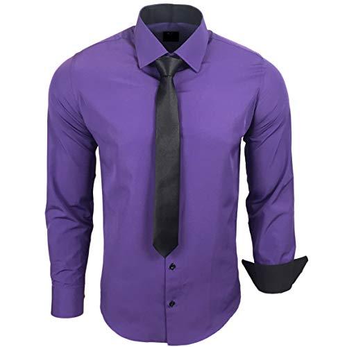 Rusty Neal 44-KR Herren Kontrast Hemd Business Hemden mit Krawatte Hochzeit Freizeit Fit, Größe:XL, Farbe:Lila