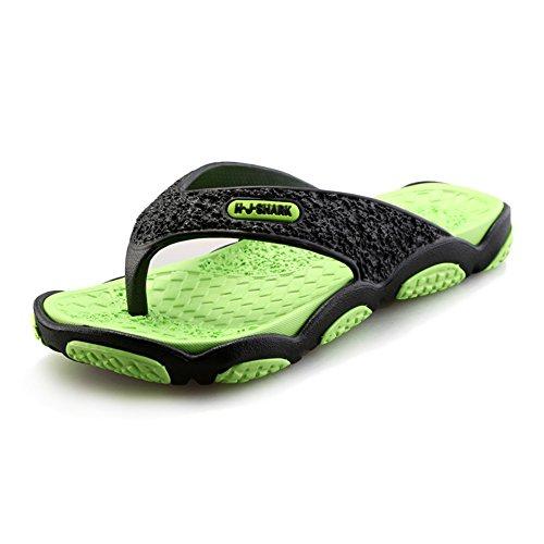 BAINASIQI Herren Zehentrenner Sommer Schuhe Outdoor Strand Latschen Freizeit Flip Flops Pantoletten Ultralight Rutschfest Slipper Badeschuhe (EU 43, Schwarz-grün) (Jungen Für Schuhe Nike-dusche)