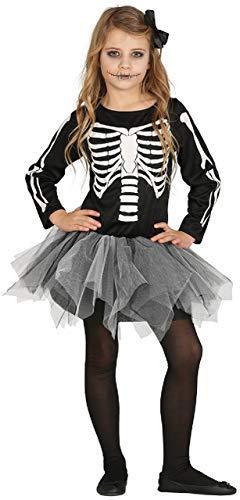 Skelebones Kind Kostüm - Fancy Me Mädchen Skelebones Skelett Knochen Halloween Tutu Horror Kostüm Kleid Outfit - Schwarz, 7-9 Years
