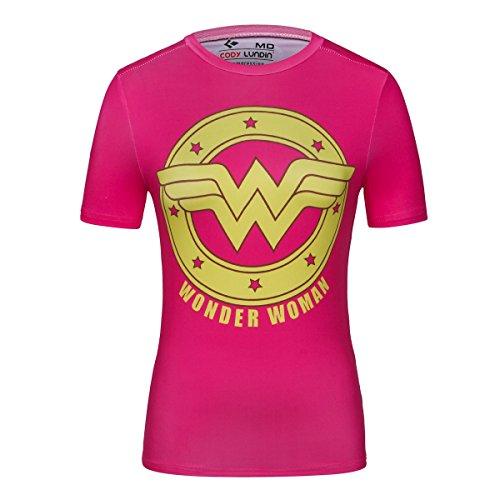 Kurzarm Hemd Fitness Running Yoga Kompression T-Shirt Superheld Wonder Woman Shirt (Wonder Woman A, M) (Wonder Woman Trikot)