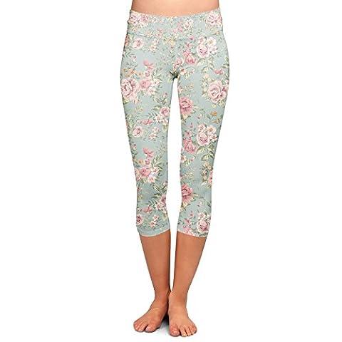Pastel Floral Wallpaper Yoga Leggings - Capri 3/4 Length, Low Waist