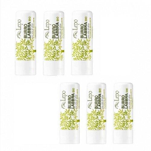 lepo-6-confezioni-di-burro-labbra-bio-con-olio-doliva-idratante-emoliente-e-protettivo