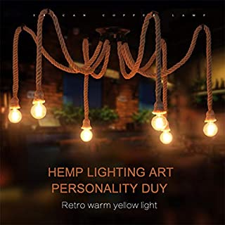 6 Heads Retro Industrial Hemp Rope Chandelier/Living Room Restaurant Pendant Lights/Light Fixture Not Included Bulb (6 Heads)