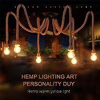 Araña de araña de cuerda de cáñamo/estilo industrial retro/sala de estar comedor bar balcón/lámparas no incluyen bombillas