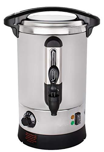 Beeketal 'BGWK5' Gastro Glühweinkocher 5 Liter Volumen mit Füllstandskala, Anit-Tropf Zapfhahn und stufenlos regelbarem Thermostat (30-110 °C), Profi Edelstahl Wasserkocher mit 1500 Watt Leistung