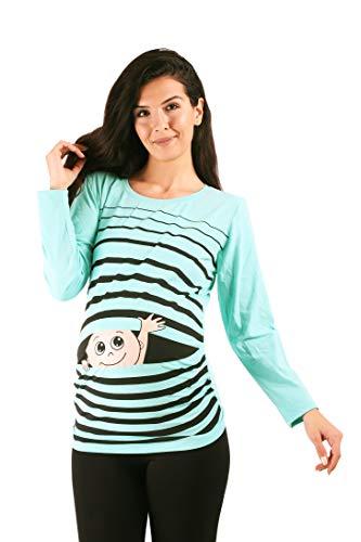 Winke Winke Baby - Lustige witzige süße Umstandsmode gestreiftes Umstandsshirt mit Motiv für die Schwangerschaft Schwangerschaftsshirt, Langarm (Mint, Large)