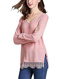 fce1823cd37c TOOGOO Moda de Mujer Suéter de Punto Dobladillo de Encaje de Empalme de  Hendidura Lateral de V Cuello Camiseta Se?ora Casual…