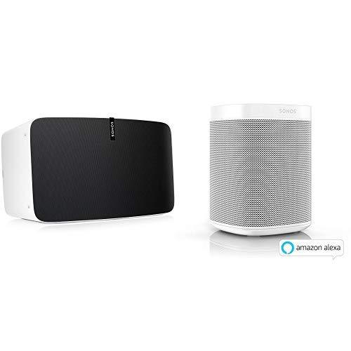 Sonos Play:5 WLAN Speaker, weiß - Kraftvoller WLAN Lautsprecher mit bestem, kristallklarem Stereo Sound  &  One Smart Speaker, weiß  & AirPlay - Multiroom Speaker für unbegrenztes Musikstreaming