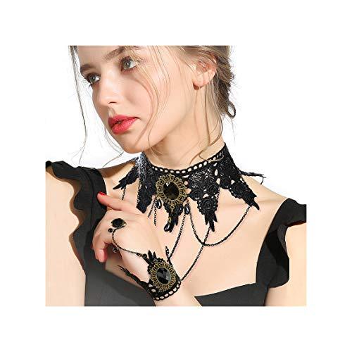 Vampira Victorian Kostüm - Gleamart Lolita Gothic Choker Set Victorian Vampire Punk Spitze Retro Halskette Armband Schwarz