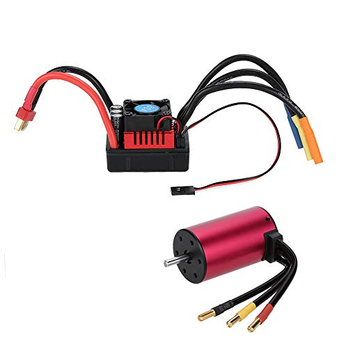 Kesbin S3660 3800KV Brushless Motor Sensorless 5mm Shaft with 80A ESC Waterproof Brushless Speed Controller Combo Set Upgrade Power System for 1/10 1/8 RC Racing Car Off-Road Truck Vehicle (Low-voltage-verkabelung)