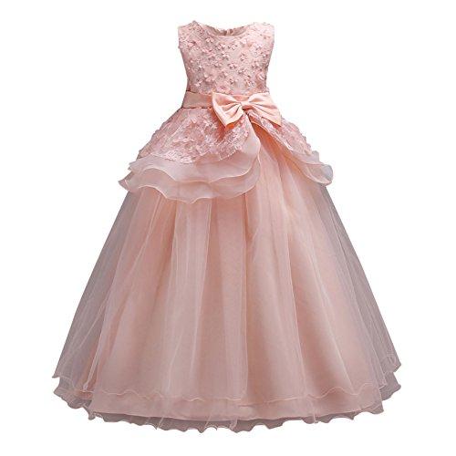 Hougood Filles Robe Princesse Robe De Danse Robe Fleur Perles Robe De Soirée A-ligne Robe De Bal Parti Robe De Bal Robe De Soirée