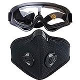 Fansport Schwarz Airsoft gesichtsschutz,Airsoft schutzbrille Airsoft Masken Staubdicht Maske Klettverschluss Maske