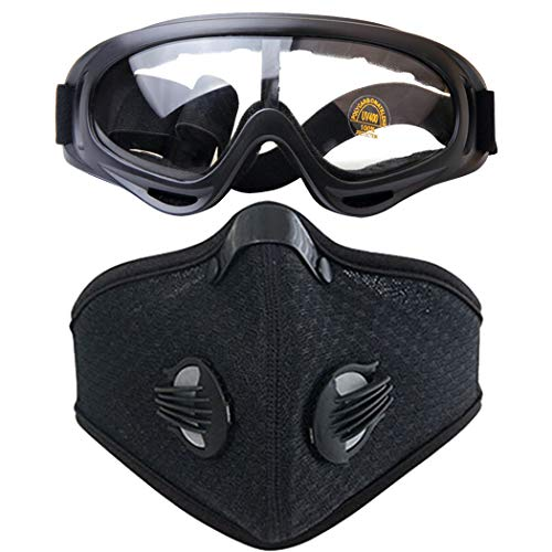 Maschera da Ciclismo Maschera da Corsa Sportiva Traspirante in Carbonio Traspirante. Maschera da Corsa con Occhiali Sportivi