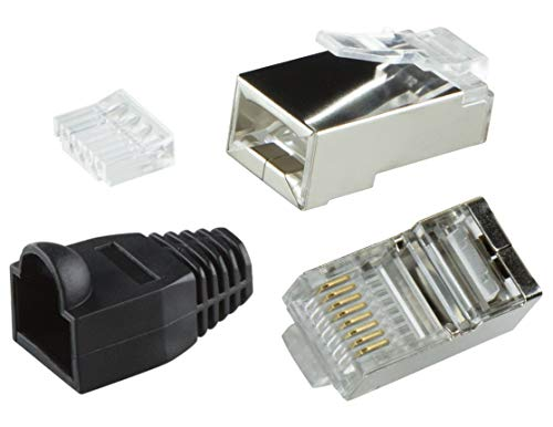 odedo® 10 Pack – Conector crimp Cat6 metal (apantallados con asistente y protección contra torceduras, Crimp conector de red lankabel de red macho RJ45 Cat 6, Switch Patch Panel, Modular Plug Shielded Connector with Insert, color blanco gris negro naranja púrpura amarillo negro negro