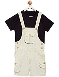 8943c338193 FirstClap Cotton Knee Length Off White Dungaree and Black T-Shirt for  Kids
