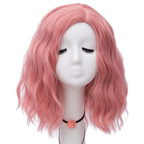 NiceLisa Frauen Mädchen 16 Zoll Mittellanges Seitenteil Haaransatz Natürliche Welle Rauch Rosa Täglich Cosplay (Game Of Thrones Weibliche Kostüm)