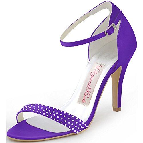 ElegantPark HP1408 Femme Escarpins Satin Diamant Bride Cheville Aiguille Talon Chaussures Sandales de Mariee Soiree Pourpre