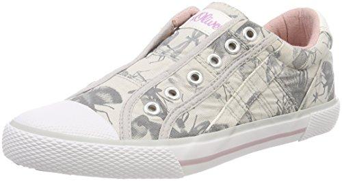 s.Oliver Mädchen 54107 Slip On Sneaker, grau (grey Flower), 36 EU